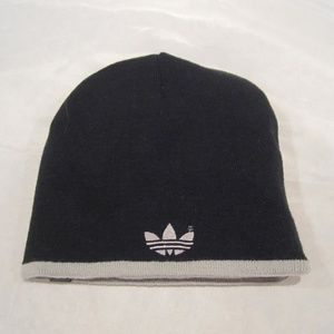 Adidas Reversible Beanie Logo Black Gray Stripe